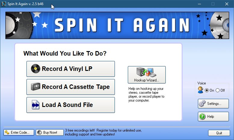 Spin It Again audio recording software